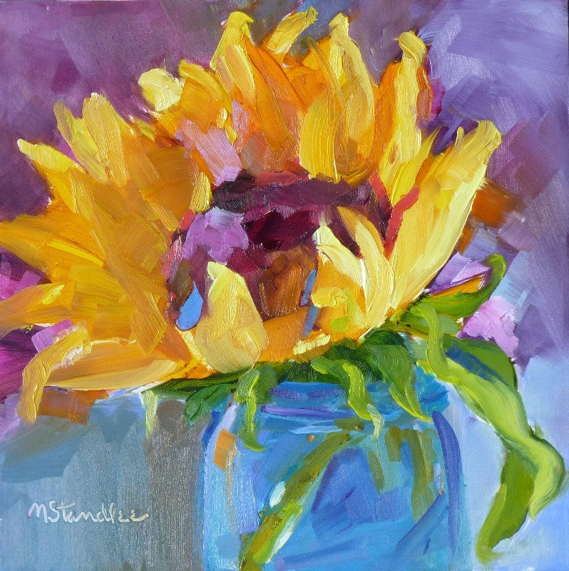 """Musical Sunflower 13055 SOLD"" original fine art by Nancy Standlee"