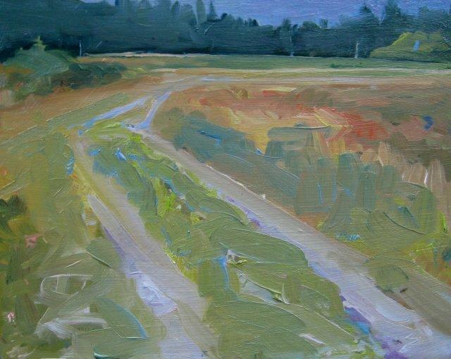 """Access Road  plein air oil painting"" original fine art by Robin Weiss"