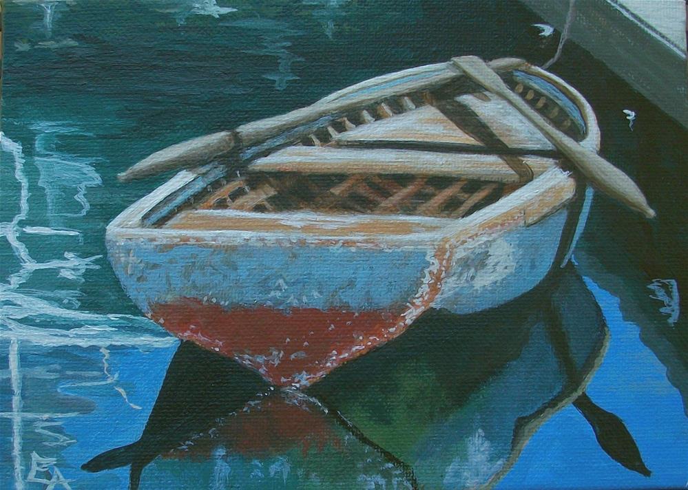 """Old Rowboat and Reflections"" original fine art by Elizabeth Elgin"