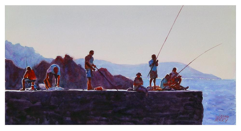 """""""Fishing from the quay"""" original fine art by Graham Berry"""