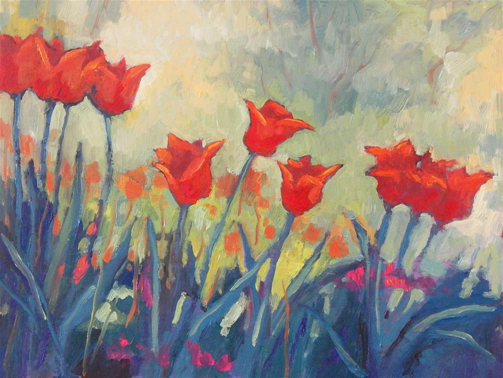 """Dancing Tulips"" original fine art by Lisa Kyle"