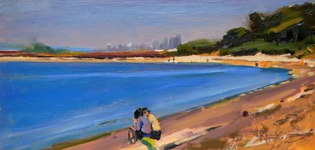 """Prichard Park Beach, plein air landscape painting by Robin Weiss"" original fine art by Robin Weiss"