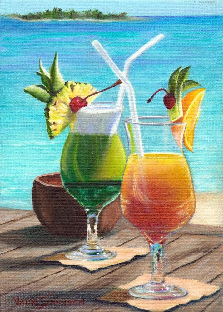 """Boat Drinks"" original fine art by Wendi Vann Johnson"