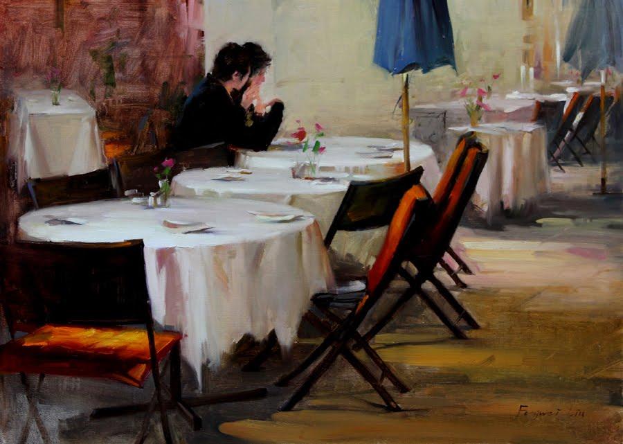 """""""Morning Coffee"""" original fine art by Fongwei Liu"""