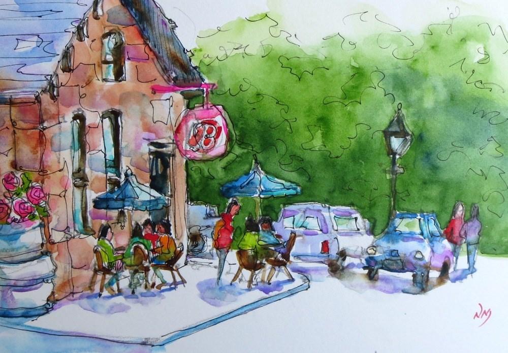 """cappuccino crowd"" original fine art by Nora MacPhail"