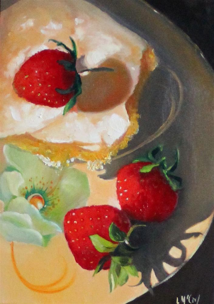 """""""Schnecken and Strawberries"""" original fine art by Linda McCoy"""