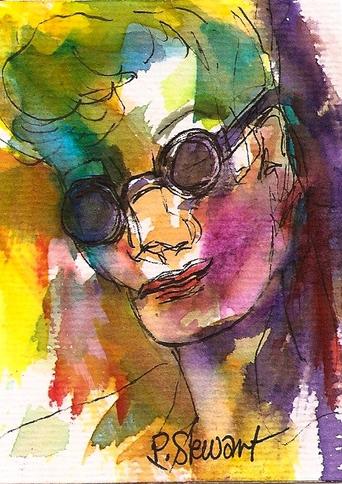 """""""Original ACEO: Incognito watercolor and pen, Portrait, abstract face"""" original fine art by Penny Lee StewArt"""