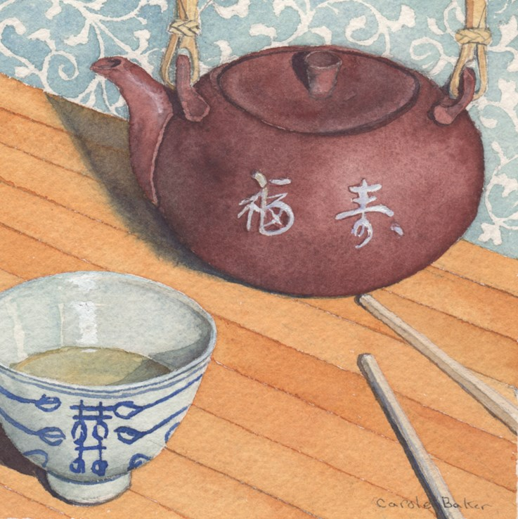 """Chinese Tea Time"" original fine art by Carole Baker"