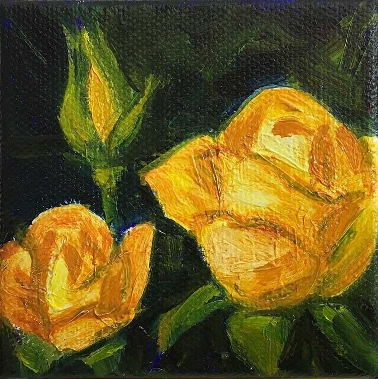 """""""Rose Yellow Trio Mini-Square"""" original fine art by Kim Victoria"""