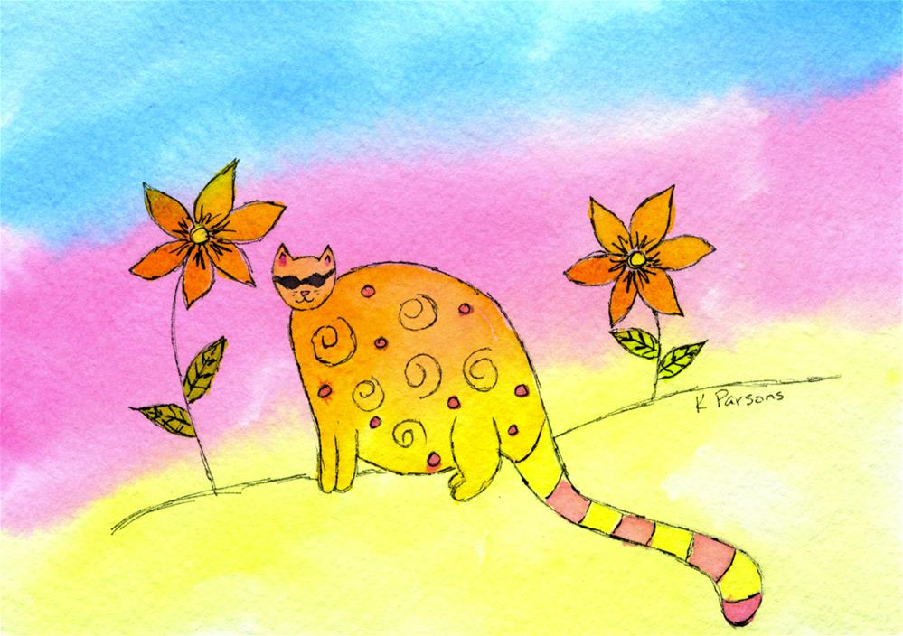 """Fat Cat"" original fine art by Kali Parsons"