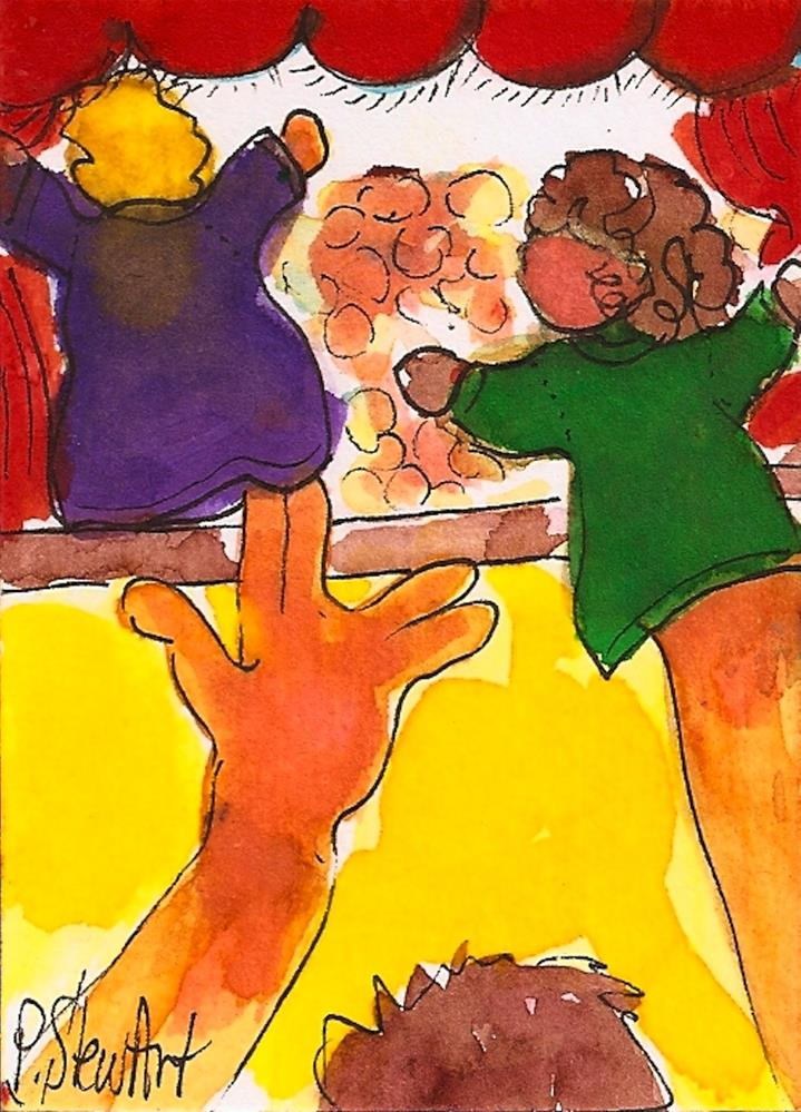 """""""ACEO Backstage at the Puppet Show Hand Puppets Watercolor and Pen, Original"""" original fine art by Penny Lee StewArt"""
