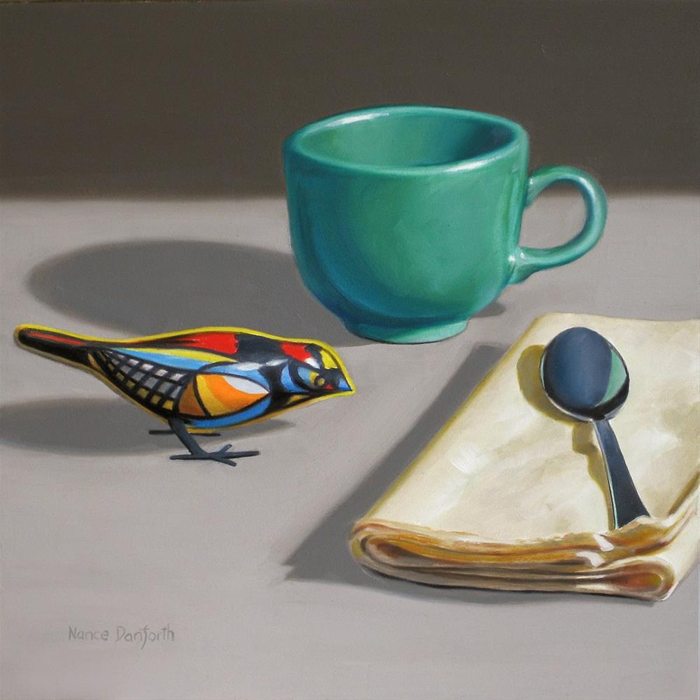"""""""Toy Bird with Teal Cup"""" original fine art by Nance Danforth"""