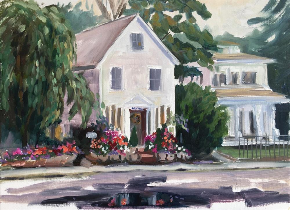 """April Rose after a Rain Shower, Guilford, CT"" original fine art by Linda Marino"