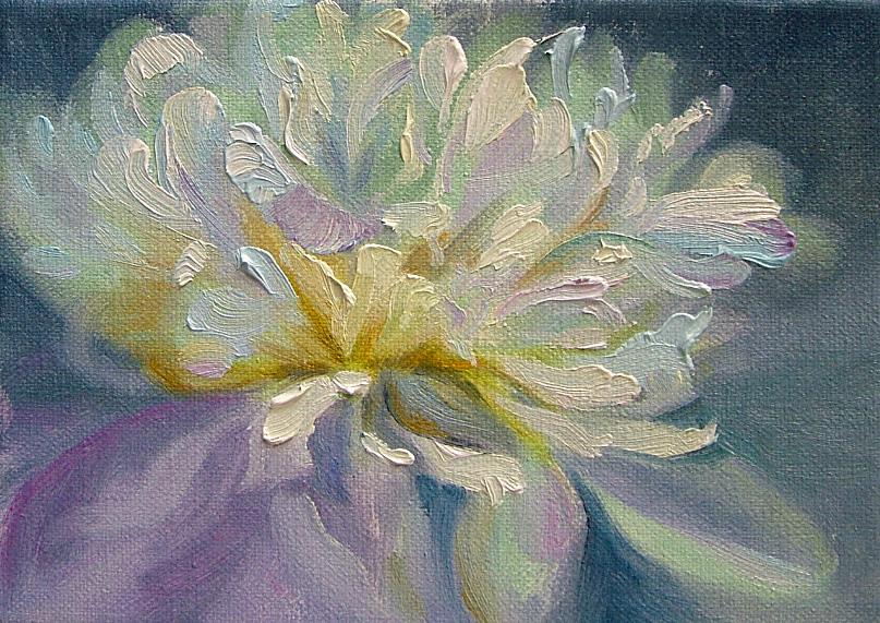 """""""One White Peonie"""" original fine art by Nancy Paris Pruden"""