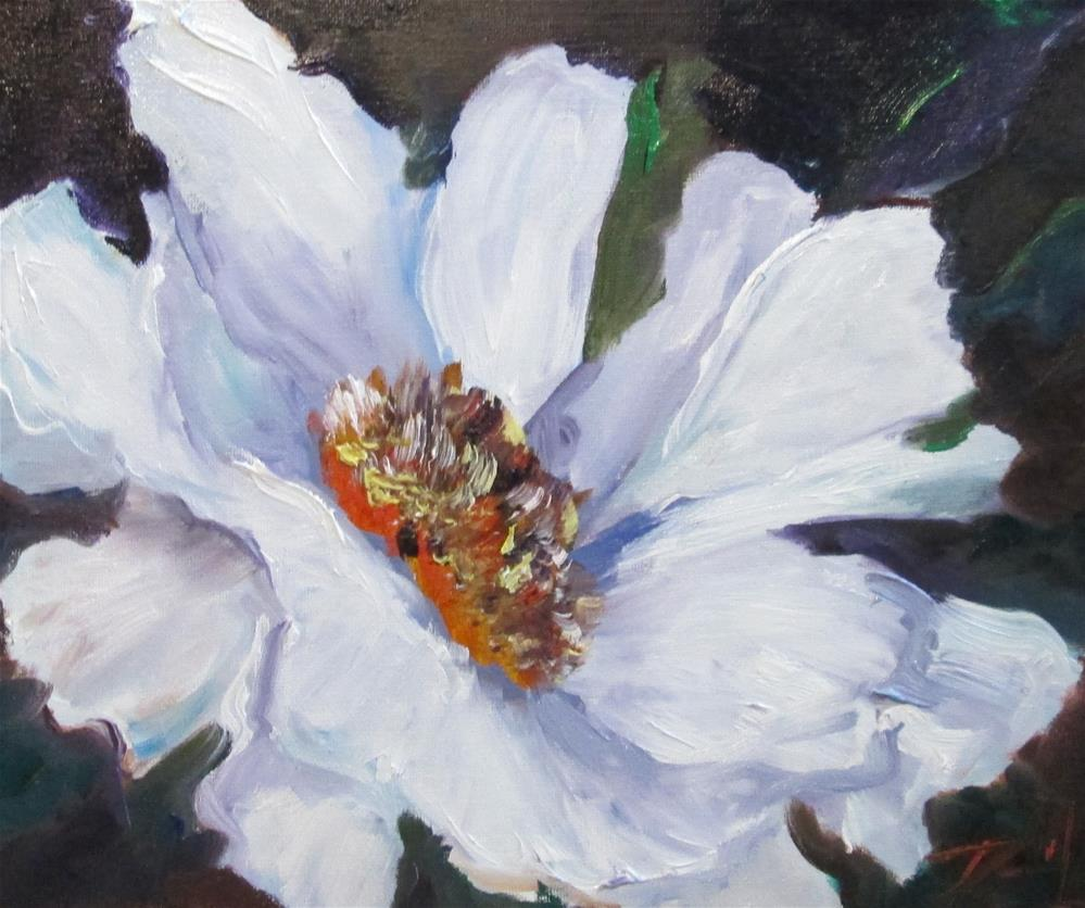 """White Flower"" original fine art by Delilah Smith"