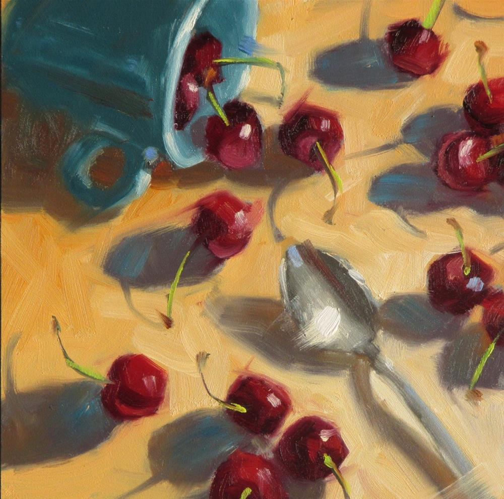 """""""A Tumble of Cherries  6in x 6in  oil"""" original fine art by Claudia Hammer"""