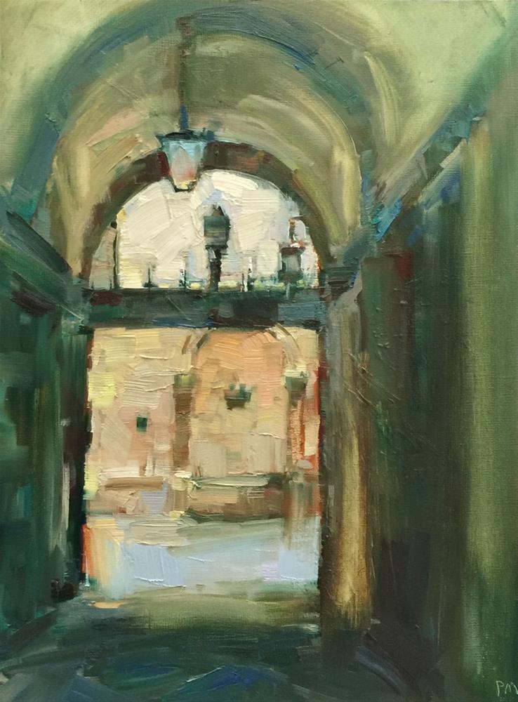 """Italian Courtyard Scene"" original fine art by Patti McNutt"