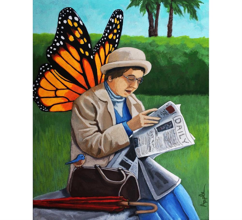 """Butterfly Angel Fairy park bench woman wings w/bluebird whimsical original oil painting"" original fine art by Linda Apple"