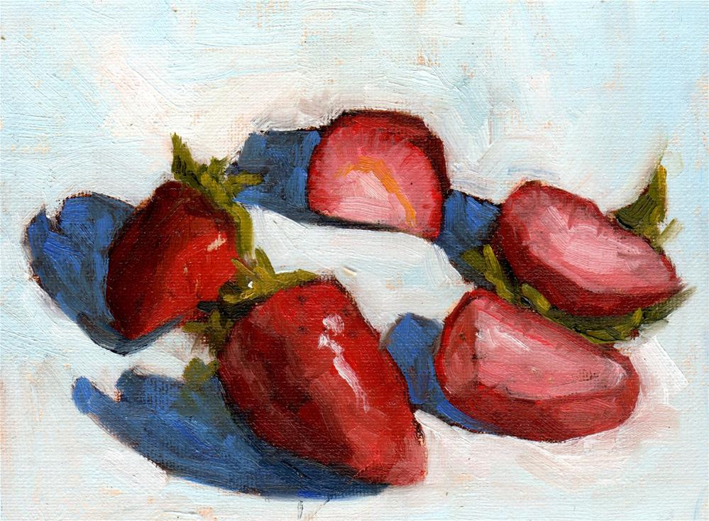 """Strawberries in a Circle"" original fine art by Marlene Lee"