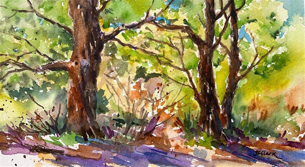"""Sun-Dappled Woodland"" original fine art by Judith Freeman Clark"