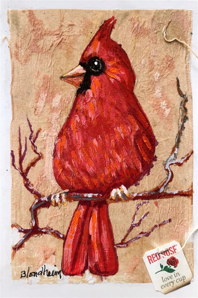 """Tea Bag Painting Cardinal"" original fine art by Linda Blondheim"