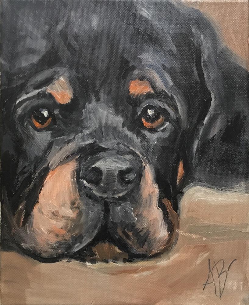 """""""Rottweiler puppy eyes"""" original fine art by Annette Balesteri"""