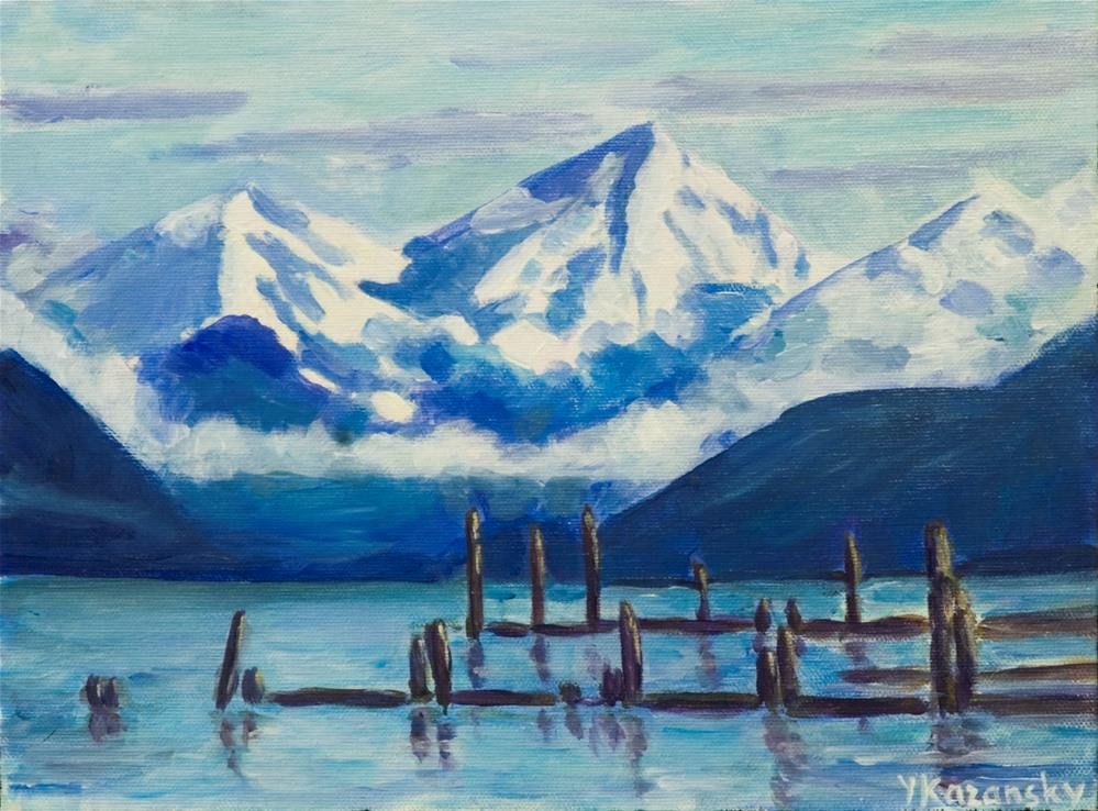 """Winter Mountains, Juneau, Alaska"" original fine art by Yulia Kazansky"