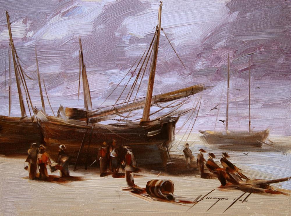 """FISHING BOATS ORIGINAL OIL PAINTING ON CANVAS GALLERY QUALITY"" original fine art by V Y"