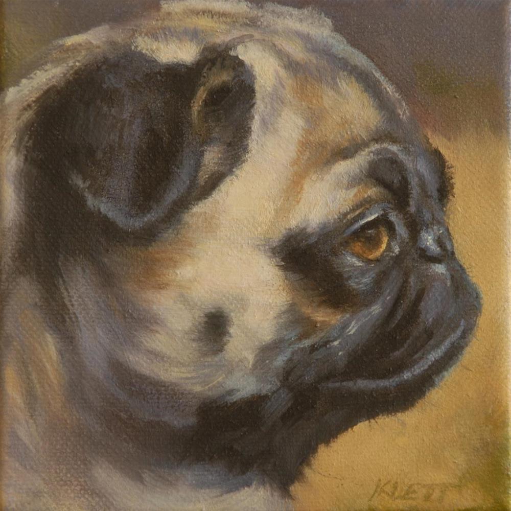 """""""Pug In Profile"""" original fine art by Tracy Klett"""