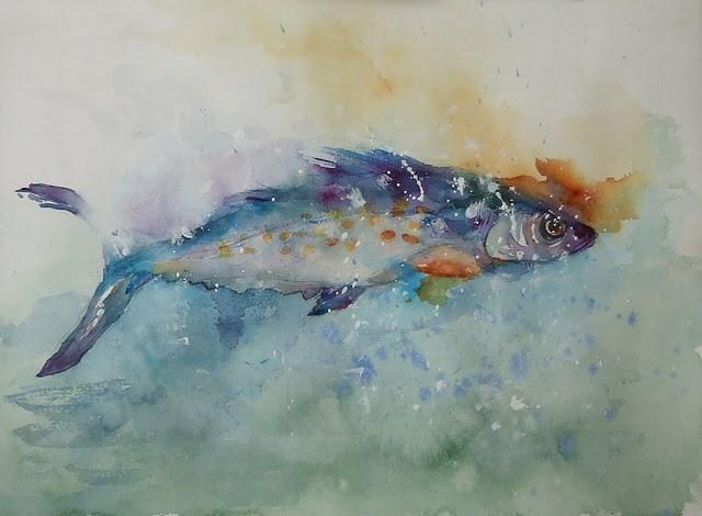 """Splashed it"" original fine art by Mitsuru Cope"