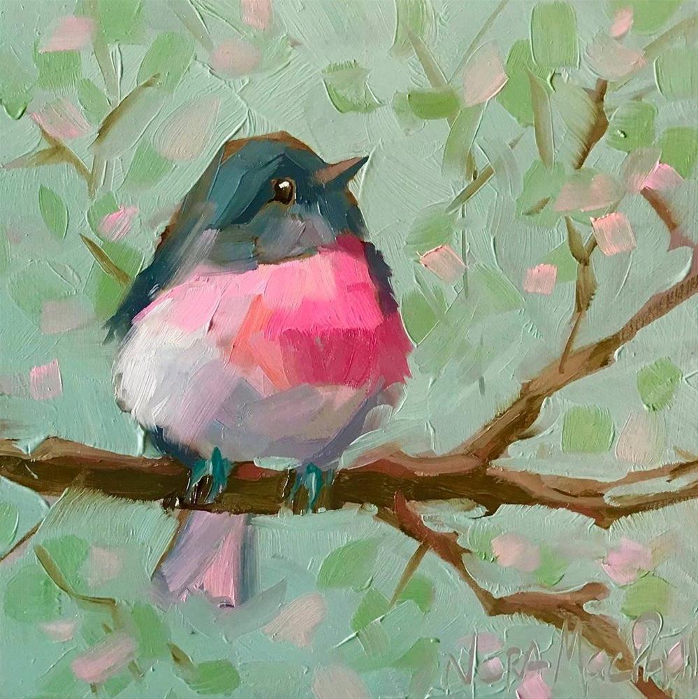"""rose robin (a.k.a. cutie patootie)"" original fine art by Nora MacPhail"