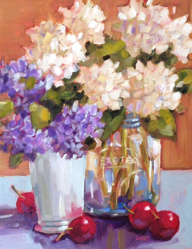 """""""Four Cherries"""" original fine art by Libby Anderson"""