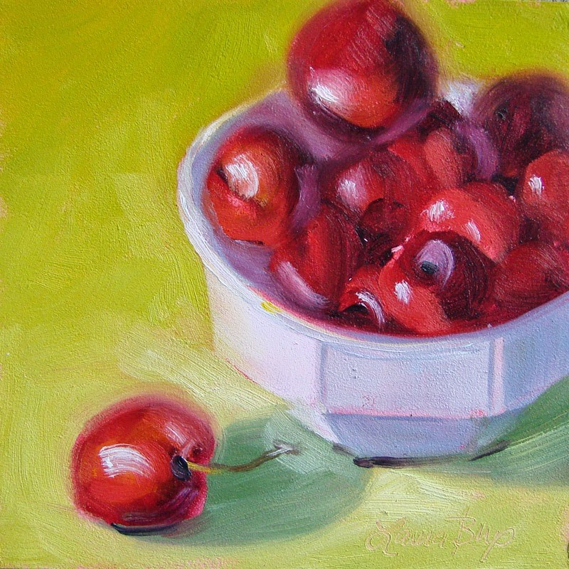 """""""Red, White and Green 260"""" original fine art by Laura  Buxo"""