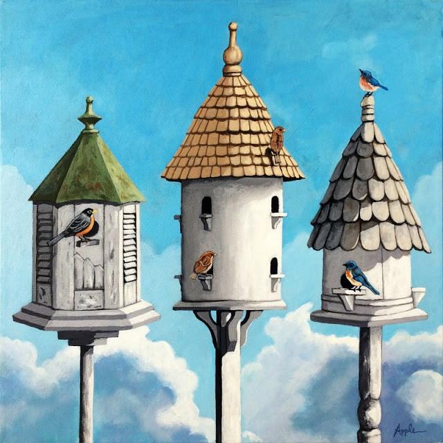 """The Cul de Sac - realistic original large 18 x 18 bird avian painting by L. Apple"" original fine art by Linda Apple"