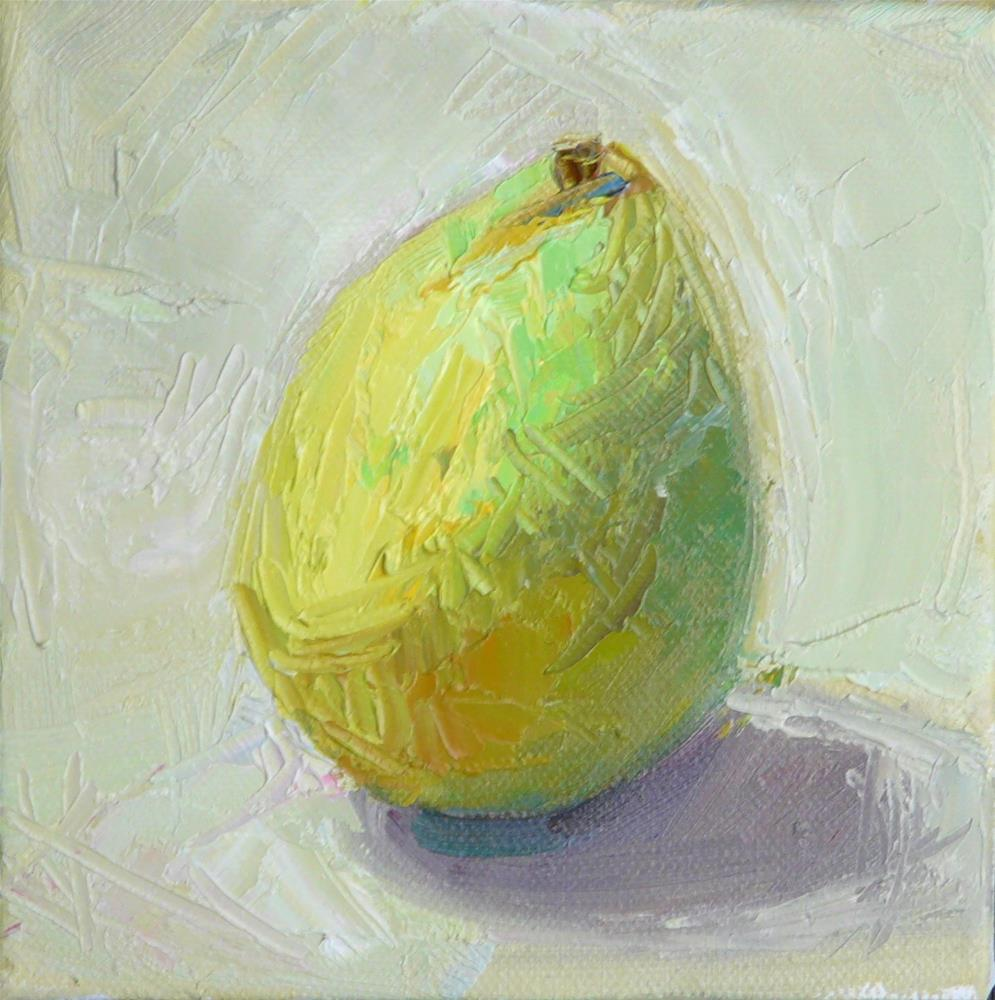 """First d'Anjou Pear,still life,oil on canvas,6x6,price$150"" original fine art by Joy Olney"