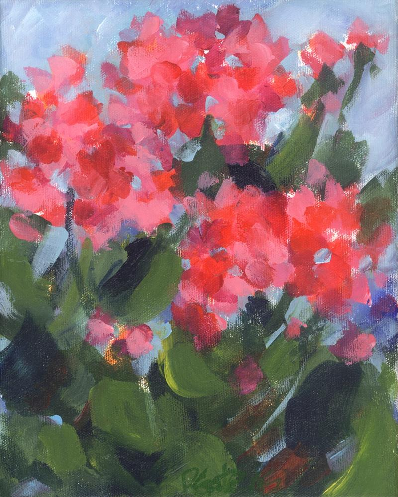 """Bright Geraniums"" original fine art by Pamela Gatens"