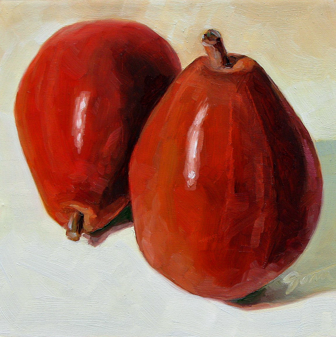 """""""Double Pears"""" original fine art by Joanna Bingham"""