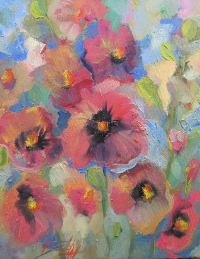 """Hollyhocks "" original fine art by Delilah Smith"