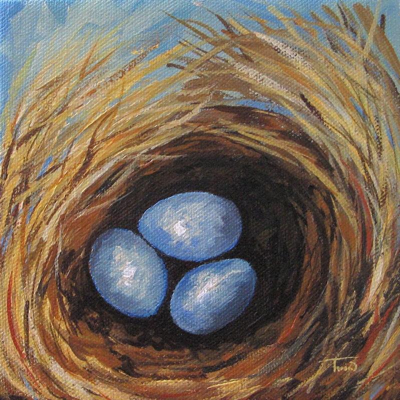 """""""Robin's Three Eggs V"""" original fine art by Torrie Smiley"""