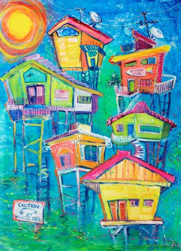 """Caution, Manatee Zone"" original fine art by Leoma Lovegrove"