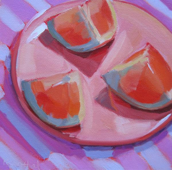 """Grapefruit on Pink Plate"" original fine art by Robin Rosenthal"