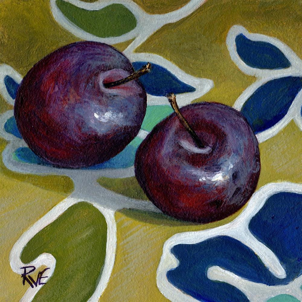 """#99 Two Plums on the table"" original fine art by Ruth Van Egmond"