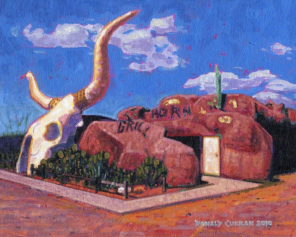 """Arizona Longhorn Grill"" original fine art by Donald Curran"