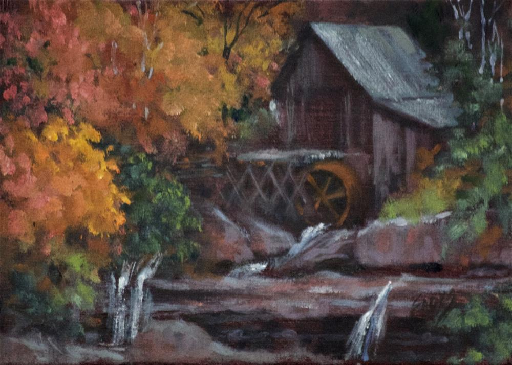 """Fall Mill"" original fine art by Linda Eades Blackburn"