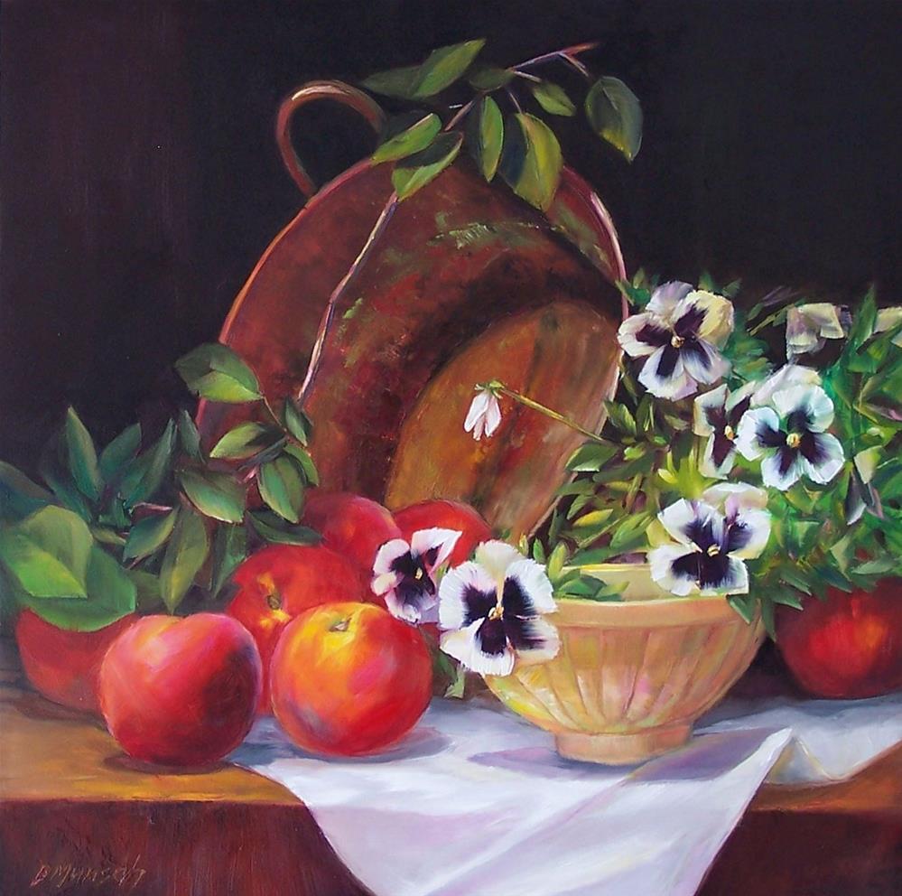 """Peaches and Pansies"" original fine art by Donna Munsch"