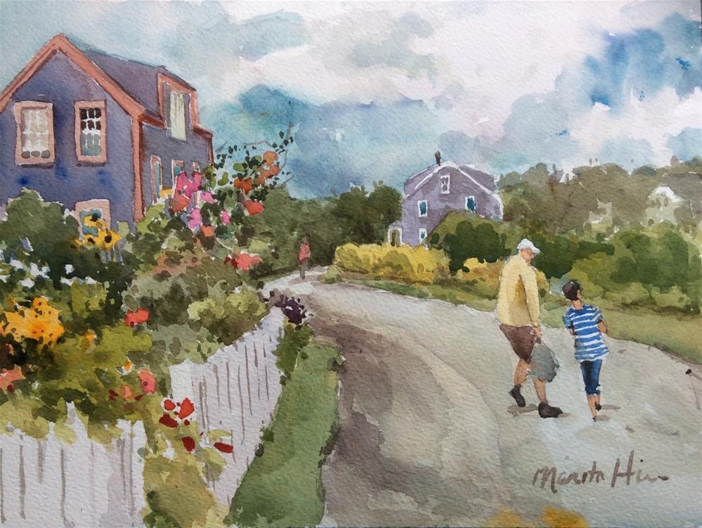 """Hollyhocks and Conversation"" original fine art by Marita Hines"
