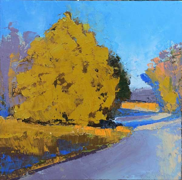 """Cedars, Full Winter Sun"" original fine art by Mary Gilkerson"