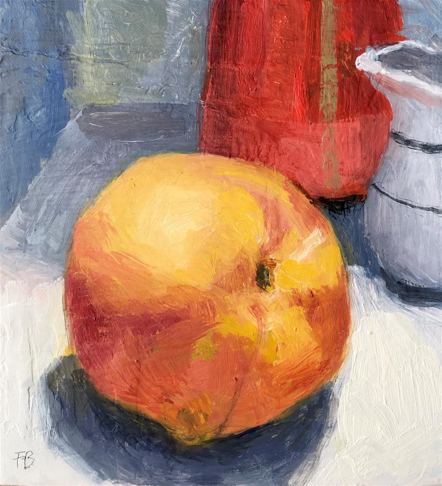 """044 Peach, Daily Painting Ritual"" original fine art by Fred Bell"