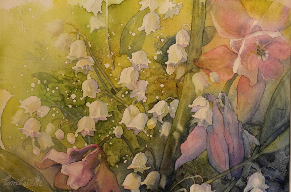 """Lilies of the Valley And Columbines"" original fine art by Emilia Leinonen"