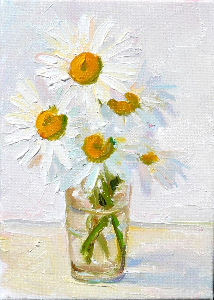 """Garden Daisies,still life,oil on canvas,7x5,price$170"" original fine art by Joy Olney"